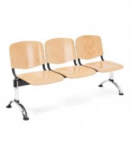 Bancada con asiento y respaldo en polipropileno BANCADA MADERA-3