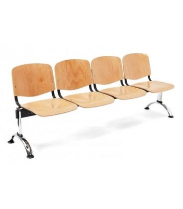 Bancada con asiento y respaldo en polipropileno BANCADA MADERA-4