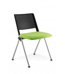 Silla apilable con asiento tapizado REVOLUTION