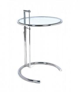 Mesa cromada y cristal, regulable en altura, 57 cms de diámetro, EG