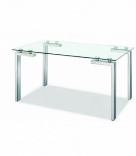 Mesa acero inoxidable y cristal, LAINEY