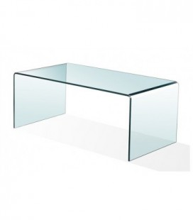 Mesa baja, cristal curvado, 100x48 cms, CHEVAL