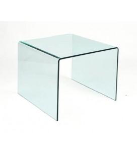 Mesa baja, cristal curvado, 60x60 cms, CHEVAL