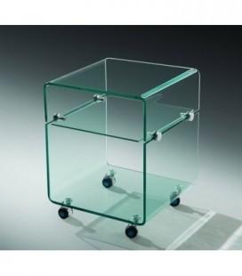 Mesa, baja, ruedas, cristal, 40x40 cms, ARMSTRONG
