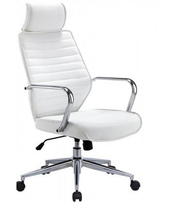 Sillón de oficina alto, basculante, similpiel blanca, BRATISLAVA