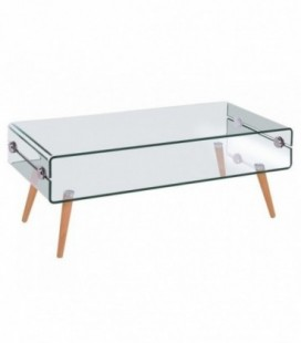 Mesa de madera y cristal, 110x55 cms, HOLANDA