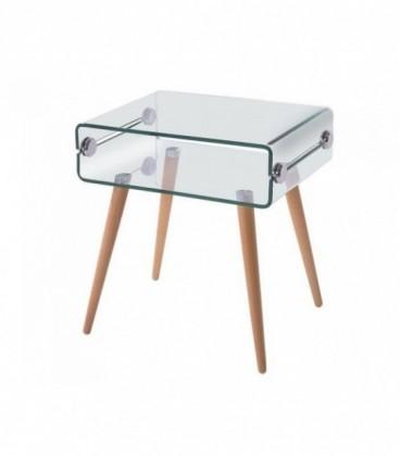 Mesa de madera y cristal, 55x40 cms, HOLANDA