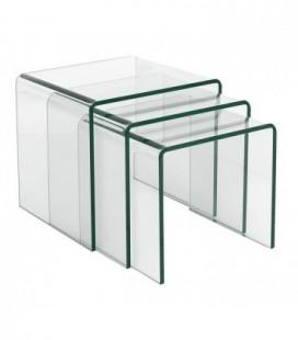 Mesa, nido 3 mesas de cristal, VULCANO NEW