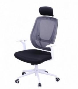 Sillón de oficina, blanco, basculante, malla y tejido negro, ULRIK