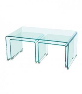 Mesa nido de tres mesas, cristal curvado, TRIP