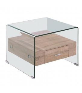 Mesa baja, madera, cristal, 50x50 cms, MARILYN