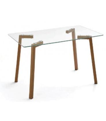 Mesa con metal en color y cristal modelo NINO