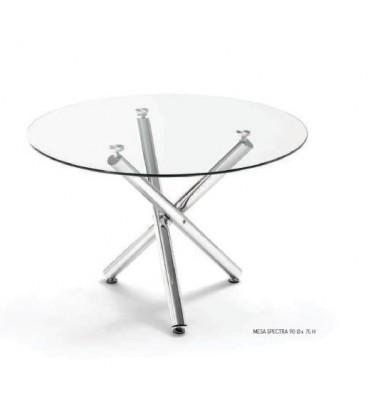 Mesa redonda con tapa de cristal modelo SPECTRA